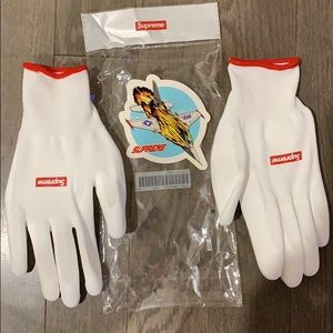 Supreme rubberized gloves and sticker